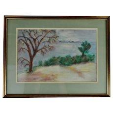 Vintage Framed Pastel Landscape Drawing