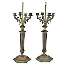 Vintage Candelabra Table Lamp Bases - A Pair