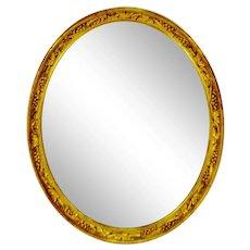 Vintage Gold Gilt Oval Framed Grapevine Design Wall Mirror
