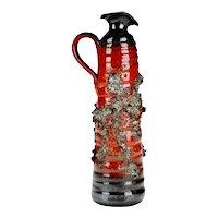Mid Century Modern West German Red & Black Lava Pottery Pitcher Vase