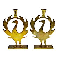Vintage Brass Phoenix Candle Holders - A Pair