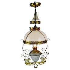 Antique Victorian Hanging Electrified Oil Lamp with Frosted Glass Smoke Bell