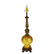 Vintage Victorian Style Ceramic and Spelter Table Lamp