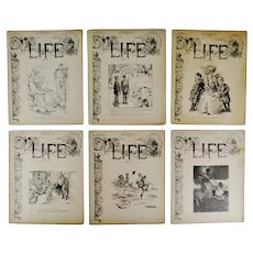Antique 1907 Life Magazines - Group of 6