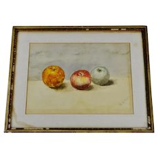 Antique Original Still Life Watercolor Painting - Pencil Signed