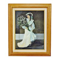 Vintage Framed Oil on Canvas Victorian Woman with Bouquet Wedding Portrait - Artist Signed