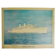 Vintage American Export Lines SS Constitution Nautical Poster on Board