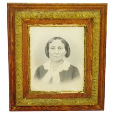 Victorian Gilt Wood Frame with Charcoal Portrait