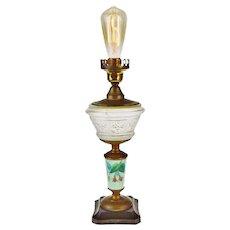 Vintage Electrified EAPG Oil Lamp w/ Decorative Mint Green Milk Glass Column