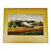 Vintage Framed Country Landscape Watercolor with Second Watercolor on Verso