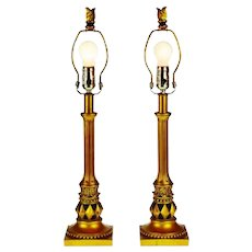 Vintage Gold Gilt and Black Candlestick Table Lamps - A Pair