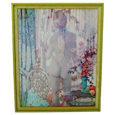 """Vintage Framed Alexander Sharpe Ross Print of Watercolor Titled """"Blue Ribbon"""""""