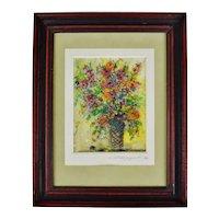 Vintage Framed Floral Still Life Watercolor Painting - Artist Signed
