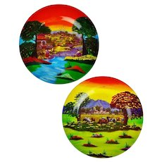 Vintage Hand Painted Mexican Pottery Plate Wall Art - A Pair