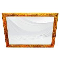 Vintage Large Mottled-Paint Effect Framed Mirror 65 x 46