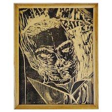Vintage Framed Woodblock Engraving Print of Man Reading Book