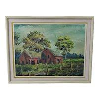 Vintage Framed Limited Edition Red Barn Landscape Lithograph - Artist Signed