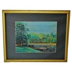 Vintage Framed Lake Scene Landscape Pastel Drawing - Artist Signed