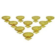 Vintage Amber Cut Glass Salt Cellars - Group of 10