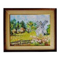 Vintage Framed Oil on Canvas Board Windmill Landscape Scene - Artist Signed
