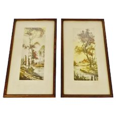Vintage Pencil Signed French Prints Titled Oise River and Near Paris by G. Anibal