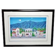 Vintage Framed Valle Azul Argentina Limited Edition Lithograph - Artist Signed
