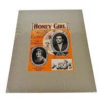 1927 Honey Girl Sheet Music, Music Score w/ COA