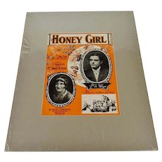 1927 Honey Girl Sheet Music, Music Score w/ COA