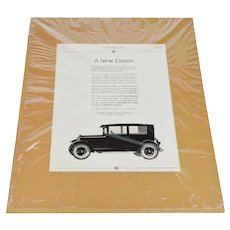 1925 Dodge Print Ad A New Coach From The Ladies Home Journal w/ COA