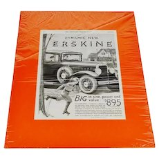 1930 Erskine Studebaker Print Ad From The Saturday Evening Post w/ COA