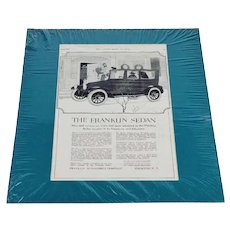 1920 The Franklin Sedan Print Ad From The Ladies Home Journal w/ Certificate