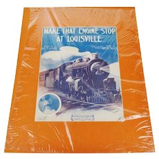 1913 Make That Engine Stop in Louisville Sheet Music, Music Score w/ COA
