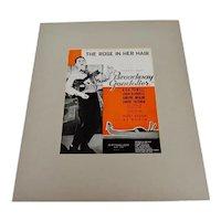 1935 The Rose In Her Hair, Broadway Gondolier Sheet Music, Music Score w/ COA