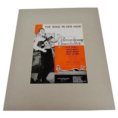 1935 The Rose In Her Hair, Broadway Gondolier Sheet Music, Music Score w/ COA