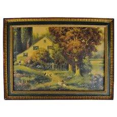 Antique Framed Country Scene Landscape Print
