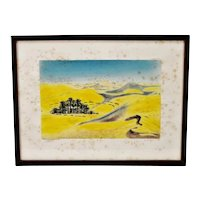 Vintage Framed Grande Dunes of the Sahara Hand Colored Engraving - Pencil Signed