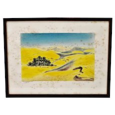 Vintage Framed Grande Dunes of the Sahara Hand Colored Engraving - Pencil Signed