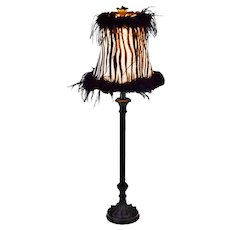 Vintage Candlestick Table Lamp with Zebra Pattern Fringe Lamp Shade