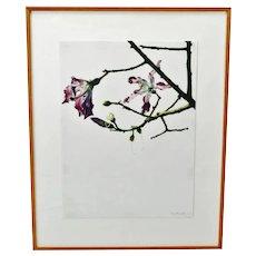 Vintage Framed Susan Fox Magnolia Tree Style Watercolor - Pencil Signed