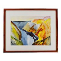 Vintage Framed Artist Proof Abstract Watercolor Print - Artist Signed