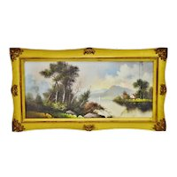 Antique Gold Gilt Framed Landscape Mixed Media Pastel Drawing