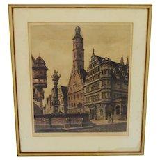 Vintage Framed Hand Colored Etching of Rothenburg St. George Brunnen by German artist Ernst Geissendorfer Artist Signed
