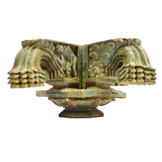 Antique Indian Rajasthan Hand-Carved Decorative Wood Column Capital