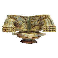 Antique Rajasthan Intricately Hand Carved Intricately Decorative Wood Column Capital, Lotus Flower, Dragon
