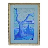 Vintage Framed Monochromatic Watercolor Landscape Painting- Artist Signed
