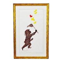 Vintage Framed Rosalind Smith Artist Proof Woodcut Etching Six Butterflies - Artist Signed