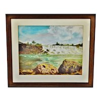 Vintage Framed Waterfall Landscape Pastel Drawing - Artist Signed