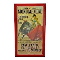 Vintage Framed 1971 Spanish Bullfight Running of the Bulls Lithograph