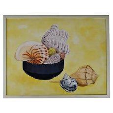 Vintage Framed Mixed Media Nautical Seashell Still Life