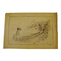 Original Artist Signed Victorian Pencil on Paper Sketching of Courting Couple